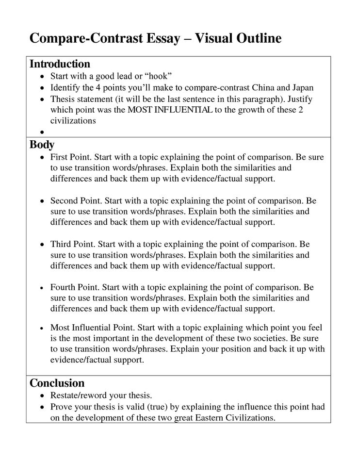 compare and contrast essay sample pdf