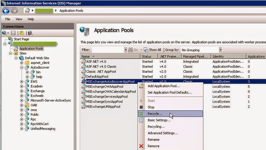 how to set auto recycle for the application pool
